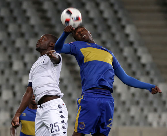 Sibusiso Masina of Cape Town City FC battles for the ball with Cuthbert Malajila of Bidvest Wits during the Absa Premiership 2016/17 football match between Cape Town City FC and Bidvest Wits at Cape Town Stadium, Cape Town on 19 April 2017 ©Chris Ricco/BackpagePix