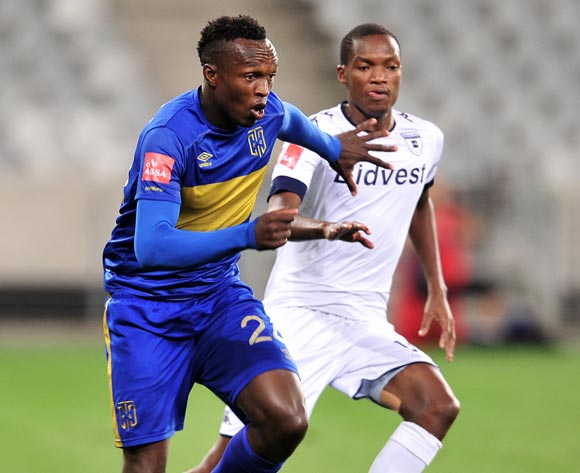 Sibusiso Masina of Cape Town City FC gets away from Mokgakolodi Ngele of Bidvest Wits during the Absa Premiership 2016/17 football match between Cape Town City FC and Bidvest Wits at Cape Town Stadium, Cape Town on 19 April 2017 ©Chris Ricco/BackpagePix