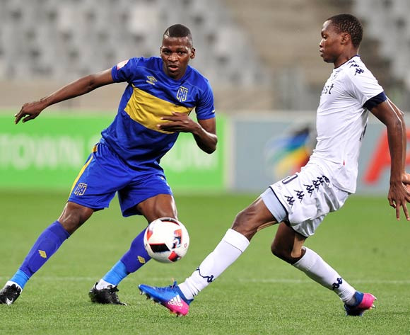 Thamsanqa Mkhize of Cape Town City FC evades challenge from Mokgakolodi Ngele of Bidvest Wits during the Absa Premiership 2016/17 football match between Cape Town City FC and Bidvest Wits at Cape Town Stadium, Cape Town on 19 April 2017 ©Chris Ricco/BackpagePix