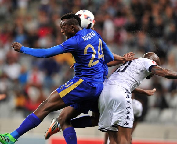 Sibusiso Masina of Cape Town City FC battles for the ball with Sifiso Hlanti of Bidvest Wits and Thabo Nodada of Cape Town City FC during the Absa Premiership 2016/17 football match between Cape Town City FC and Bidvest Wits at Cape Town Stadium, Cape Town on 19 April 2017 ©Chris Ricco/BackpagePix
