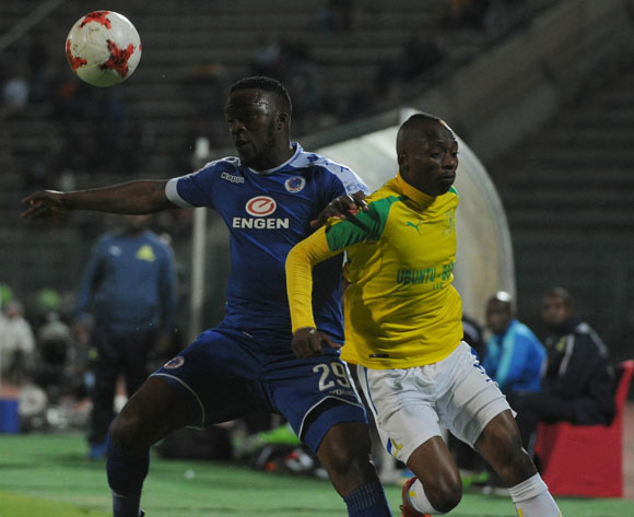 Morgan Gould of Supersport United challenges Khama Billiat of Mamelodi Sundowns during the Absa Premiership match beween Supersport United v Mamelodi Sundowns  on 19 April 2017 at Lucas Moripe Stadium  ©Sydney Mahlangu /BackpagePix