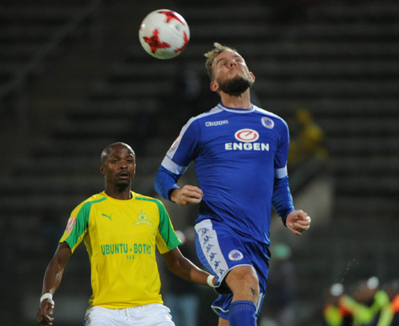 Tebogo Langerman of Mamelodi Sundowns challenges Jeremy Brockie of Supersport United during the Absa Premiership match beween Supersport United v Mamelodi Sundowns  on 19 April 2017 at Lucas Moripe Stadium  ©Sydney Mahlangu /BackpagePix