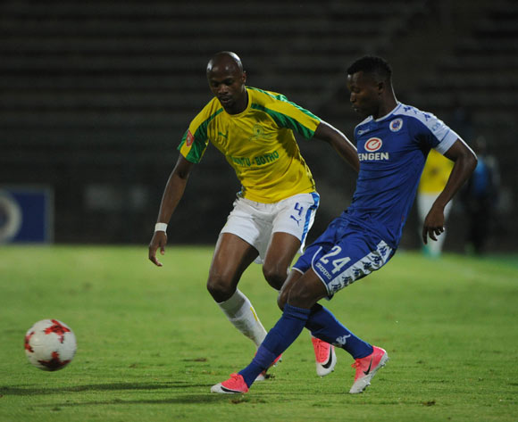 Tebogo Langerman of Mamelodi Sundowns challenges Mandla Masango of Supersport United during the Absa Premiership match beween Supersport United v Mamelodi Sundowns  on 19 April 2017 at Lucas Moripe Stadium  ©Sydney Mahlangu /BackpagePix