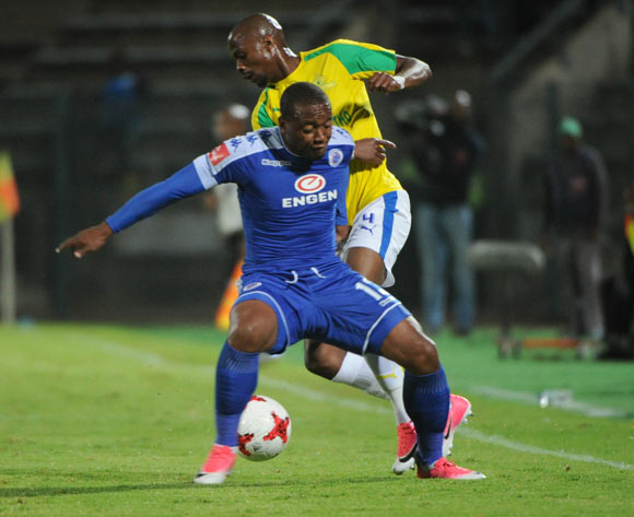 Tebogo Langerman of Mamelodi Sundowns is challenged by Thuso Phala of Supersport United during the Absa Premiership match beween Supersport United v Mamelodi Sundowns  on 19 April 2017 at Lucas Moripe Stadium  ©Sydney Mahlangu /BackpagePix