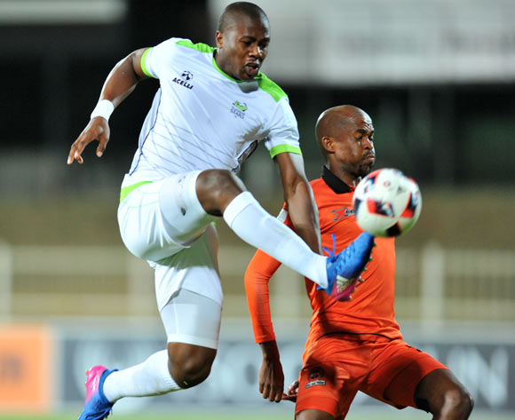 Bongi Ntuli of Platinum Stars challenged by Sibusiso Mbonani of Polokwane City during the Absa Premiership 2016/17 match between Polokwane City and Platinum Stars at the Old Peter Stadium, South Africa on 19 April 2017 ©Samuel Shivambu/BackpagePix