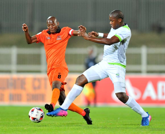 Jabulani Maluleke of Polokwane City challenged by Bongi Ntuli of Platinum Stars during the Absa Premiership 2016/17 match between Polokwane City and Platinum Stars at the Old Peter Stadium, South Africa on 19 April 2017 ©Samuel Shivambu/BackpagePix