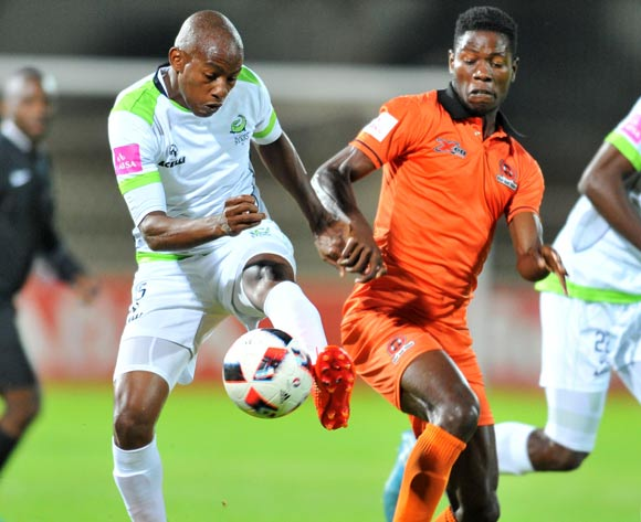 Salulani Phiri of Polokwane City challenged by Sibusiso Msomi of Platinum Stars during the Absa Premiership 2016/17 match between Polokwane City and Platinum Stars at the Old Peter Stadium, South Africa on 19 April 2017 ©Samuel Shivambu/BackpagePix