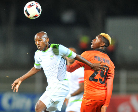 Sibusiso Msomi of Platinum Stars challenged by Walter Musona of Polokwane City during the Absa Premiership 2016/17 match between Polokwane City and Platinum Stars at the Old Peter Stadium, South Africa on 19 April 2017 ©Samuel Shivambu/BackpagePix