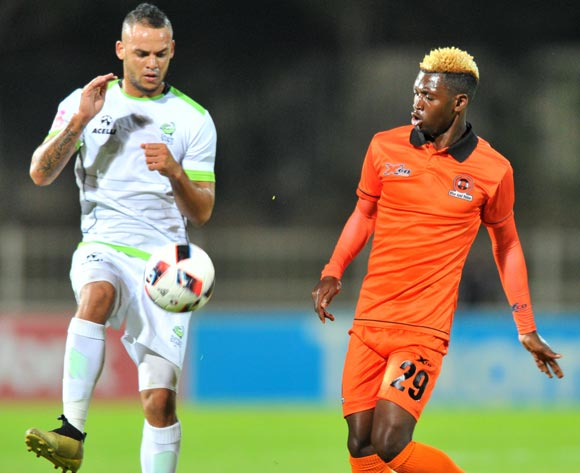 Ryan de Jongh of Platinum Stars challenged by Walter Musona of Polokwane City during the Absa Premiership 2016/17 match between Polokwane City and Platinum Stars at the Old Peter Stadium, South Africa on 19 April 2017 ©Samuel Shivambu/BackpagePix