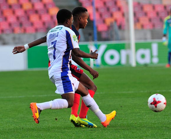 Tebogo Tlolane of Jomo Cosmos and Paseka Mako of Chippa United during the 2017 Nedbank Cup quarterfinal game between Chippa United and Jomo Cosmos at Nelson Mandela Bay Stadium, Port Elizabeth on 22 April 2017 © Deryck Foster/BackpagePix