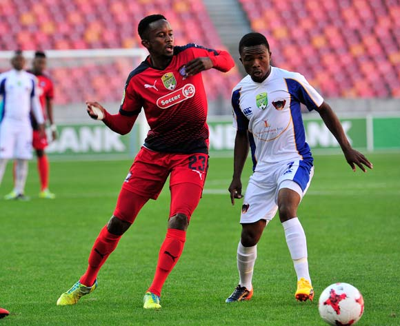 Linda Mntambo of Jomo Cosmos, and Paseka Mako of Chippa United during the 2017 Nedbank Cup quarterfinal game between Chippa United and Jomo Cosmos at Nelson Mandela Bay Stadium, Port Elizabeth on 22 April 2017 © Deryck Foster/BackpagePix