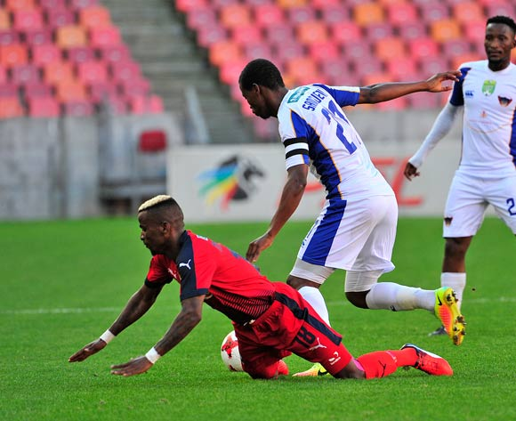 Tebogo Makobela of Jomo Cosmos, goes down in fight for the ball with Thamsanqa Sangweni of Chippa United during the 2017 Nedbank Cup quarterfinal game between Chippa United and Jomo Cosmos at Nelson Mandela Bay Stadium, Port Elizabeth on 22 April 2017 © Deryck Foster/BackpagePix