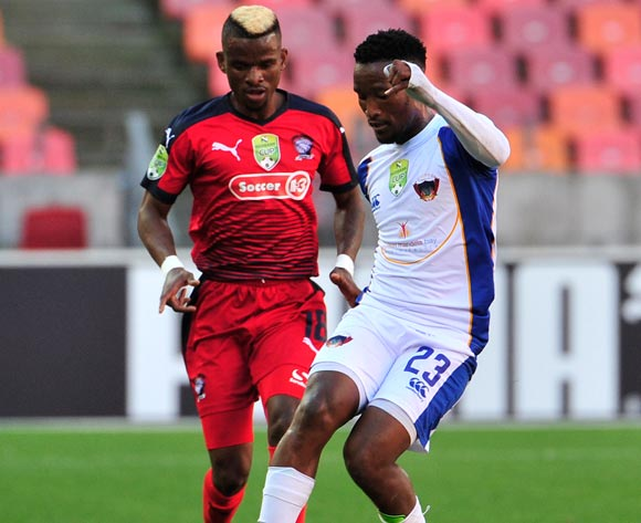 Tshwarelo Bereng of Chippa United and Tebogo Makobela of Jomo Cosmos, during the 2017 Nedbank Cup quarterfinal game between Chippa United and Jomo Cosmos at Nelson Mandela Bay Stadium, Port Elizabeth on 22 April 2017 © Deryck Foster/BackpagePix