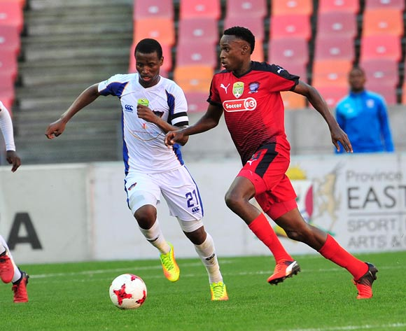 Mxolisi Macuphu of Jomo Cosmos and Thamsanqa Sangweni of Chippa United during the 2017 Nedbank Cup quarterfinal game between Chippa United and Jomo Cosmos at Nelson Mandela Bay Stadium, Port Elizabeth on 22 April 2017 © Deryck Foster/BackpagePix