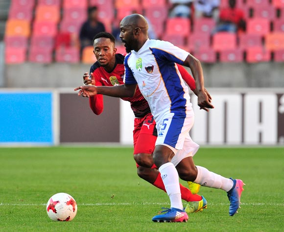Linda Mntambo of Jomo Cosmos concentrates on the ball as Sandile Zuke of Chippa United passes it during the 2017 Nedbank Cup quarterfinal game between Chippa United and Jomo Cosmos at Nelson Mandela Bay Stadium, Port Elizabeth on 22 April 2017 © Deryck Foster/BackpagePix