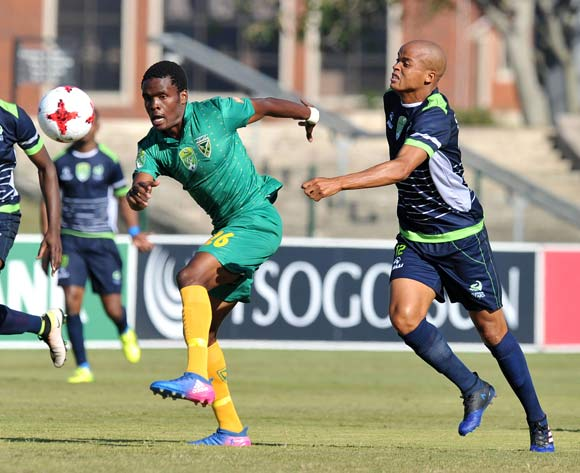 Danny Phiri of Golden Arrows challenged by Solomon Mathe of Platinum Stars during the 2017 Nedbank Cup match between Golden Arrows and Platinum Stars at the Princess Magogo Stadium in Kwa-Mashu, South Africa on 22 April 2017 ©Muzi Ntombela/BackpagePix