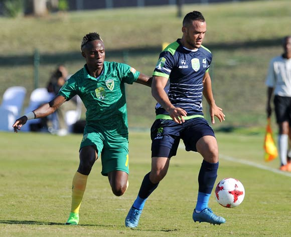 Ryan De Jongh of Platinum Stars challenged by Kudakwashe Mahachi of Golden Arrows during the 2017 Nedbank Cup match between Golden Arrows and Platinum Stars at the Princess Magogo Stadium in Kwa-Mashu, South Africa on 22 April 2017 ©Muzi Ntombela/BackpagePix