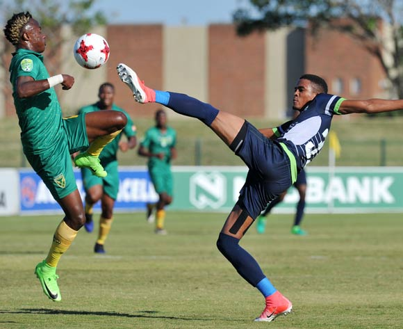 Gerald Phiri of Platinum Stars clears ball from Kudakwashe Mahachi of Golden Arrows during the 2017 Nedbank Cup match between Golden Arrows and Platinum Stars at the Princess Magogo Stadium in Kwa-Mashu, South Africa on 22 April 2017 ©Muzi Ntombela/BackpagePix