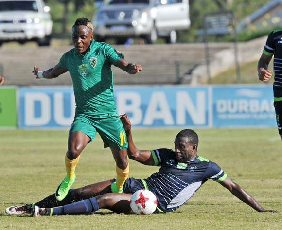 Kudakwashe Mahachi of Golden Arrows tackled by Willem Mwedihanga of Platinum Stars during the 2017 Nedbank Cup match between Golden Arrows and Platinum Stars at the Princess Magogo Stadium in Kwa-Mashu, South Africa on 22 April 2017 ©Muzi Ntombela/BackpagePix