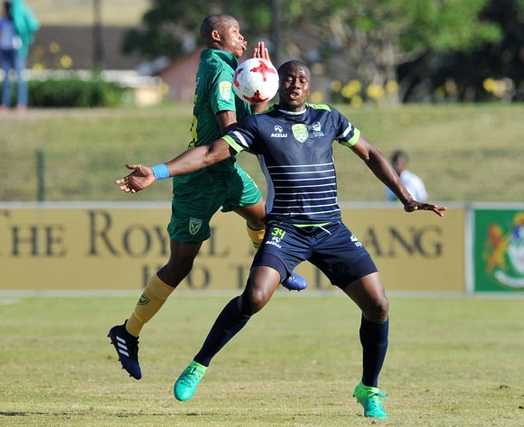 Bonginkosi Ntuli of Platinum Stars challenged by Romario Dlamini of Golden Arrows during the 2017 Nedbank Cup match between Golden Arrows and Platinum Stars at the Princess Magogo Stadium in Kwa-Mashu, South Africa on 22 April 2017 ©Muzi Ntombela/BackpagePix