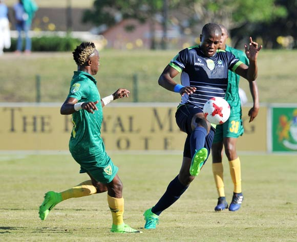 Bonginkosi Ntuli of Platinum Stars challenged by Kudakwashe Mahachi of Golden Arrows during the 2017 Nedbank Cup match between Golden Arrows and Platinum Stars at the Princess Magogo Stadium in Kwa-Mashu, South Africa on 22 April 2017 ©Muzi Ntombela/BackpagePix