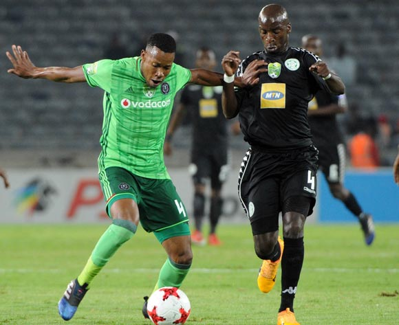 Happy Jele of Orlando Pirates challenges Musa Nyatama of Bloemfontein Celtic during the Nedbank Cup Quarter Final match between Orlando Pirates and Bloemfontein Celtic  on 22 April 2017 at Orlando Stadium ©Sydney Mahlangu /BackpagePix