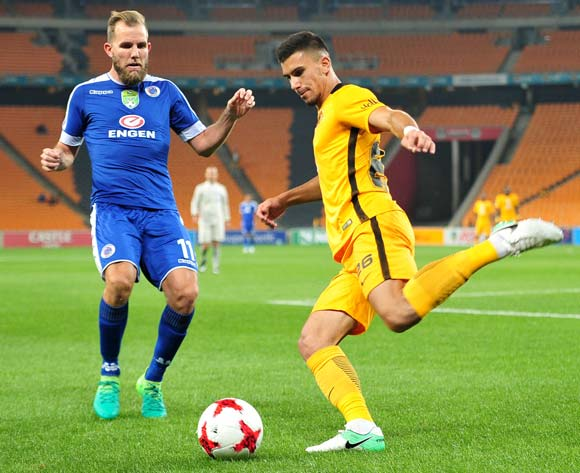 Lorenzo Gordinho of Kaizer Chiefs challenged by Jeremy Brockie of Supersport United during the 2017 Nedbank Cup match between Kaizer Chiefs and Supersport United at the FNB Stadium, South Africa on 22 April 2017 ©Samuel Shivambu/BackpagePix
