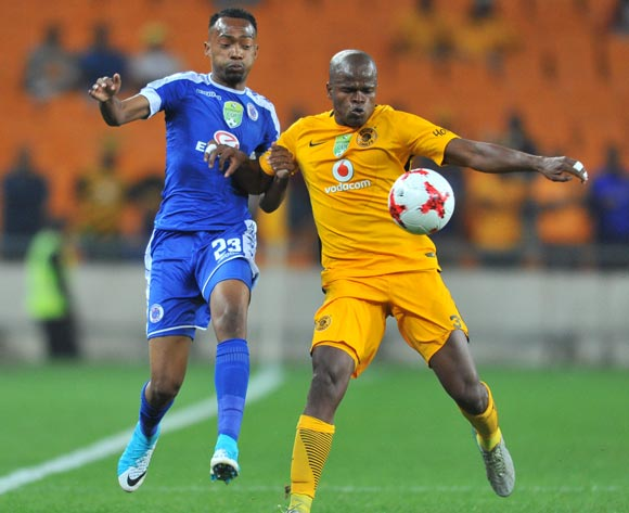 Thabo Mnyamane of Supersport United challenged by Willard Katsande of Kaizer Chiefs during the 2017 Nedbank Cup match between Kaizer Chiefs and Supersport United at the FNB Stadium, South Africa on 22 April 2017 ©Samuel Shivambu/BackpagePix