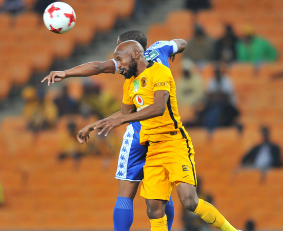 Thuso Phala of Supersport United challenged by Ramahlwe Mphahlele of Kaizer Chiefs during the 2017 Nedbank Cup match between Kaizer Chiefs and Supersport United at the FNB Stadium, South Africa on 22 April 2017 ©Samuel Shivambu/BackpagePix