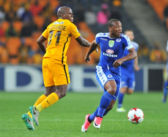 Thuso Phala of Supersport United challenged by Willard Katsande of Kaizer Chiefs during the 2017 Nedbank Cup match between Kaizer Chiefs and Supersport United at the FNB Stadium, South Africa on 22 April 2017 ©Samuel Shivambu/BackpagePix