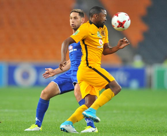Bernard Parker of Kaizer Chiefs challenged by Dean Furman of Supersport United during the 2017 Nedbank Cup match between Kaizer Chiefs and Supersport United at the FNB Stadium, South Africa on 22 April 2017 ©Samuel Shivambu/BackpagePix