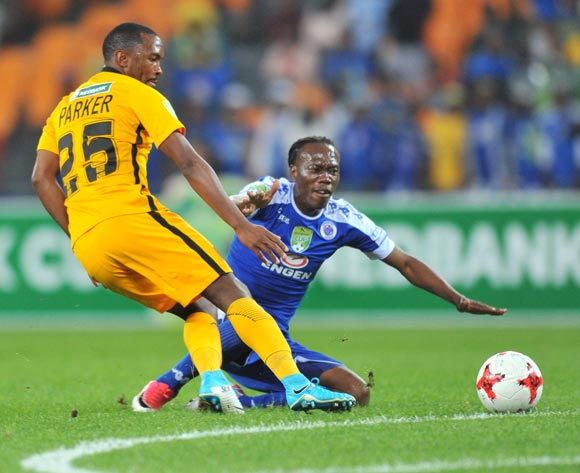Reneilwe Letsholonyane of Supersport United challenged by Bernard Parker of Kaizer Chiefs during the 2017 Nedbank Cup match between Kaizer Chiefs and Supersport United at the FNB Stadium, South Africa on 22 April 2017 ©Samuel Shivambu/BackpagePix