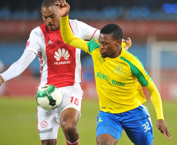Motjeka Madisha of Mamelodi Sundowns challenged by Prince Nxumalo of Ajax Cape Town during the Absa Premiership 2016/17 match between Mamelodi Sundowns and Ajax Cape Town at Loftus Versfeld Stadium in Pretoria, South Africa on 25 April 2017 ©Muzi Ntombela/BackpagePix