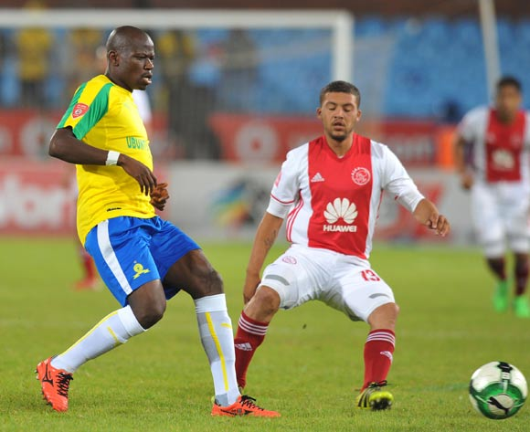 Hlompho Kekana of Mamelodi Sundowns challenged by Grant Margeman of Ajax Cape Town during the Absa Premiership 2016/17 match between Mamelodi Sundowns and Ajax Cape Town at Loftus Versfeld Stadium in Pretoria, South Africa on 25 April 2017 ©Muzi Ntombela/BackpagePix