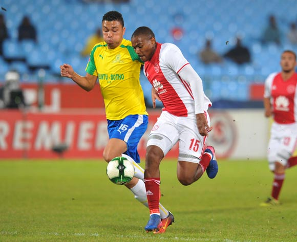 Prince Nxumalo of Ajax Cape Town challenged by Ricardo Nascimento of Mamelodi Sundowns during the Absa Premiership 2016/17 match between Mamelodi Sundowns and Ajax Cape Town at Loftus Versfeld Stadium in Pretoria, South Africa on 25 April 2017 ©Muzi Ntombela/BackpagePix