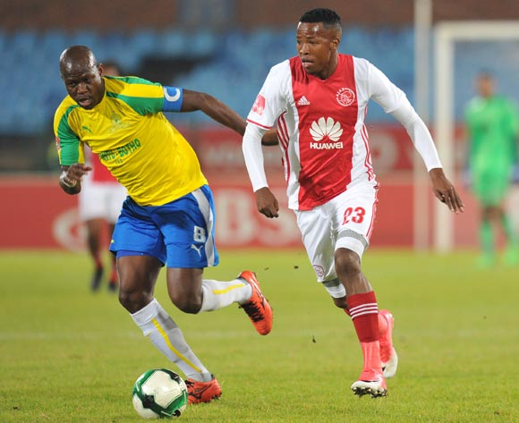 Thabo Mosadi of Ajax Cape Town challenged by Hlompho Kekana of Mamelodi Sundowns during the Absa Premiership 2016/17 match between Mamelodi Sundowns and Ajax Cape Town at Loftus Versfeld Stadium in Pretoria, South Africa on 25 April 2017 ©Muzi Ntombela/BackpagePix
