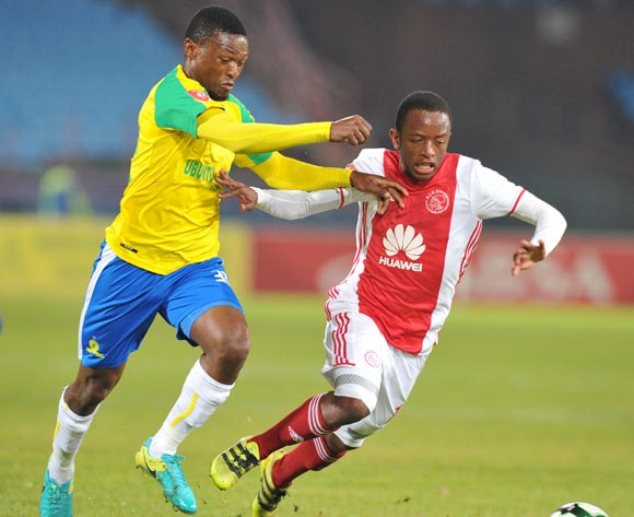 Ayanda Makua of Ajax Cape Town challenged by Motjeka Madisha of Mamelodi Sundowns during the Absa Premiership 2016/17 match between Mamelodi Sundowns and Ajax Cape Town at Loftus Versfeld Stadium in Pretoria, South Africa on 25 April 2017 ©Muzi Ntombela/BackpagePix