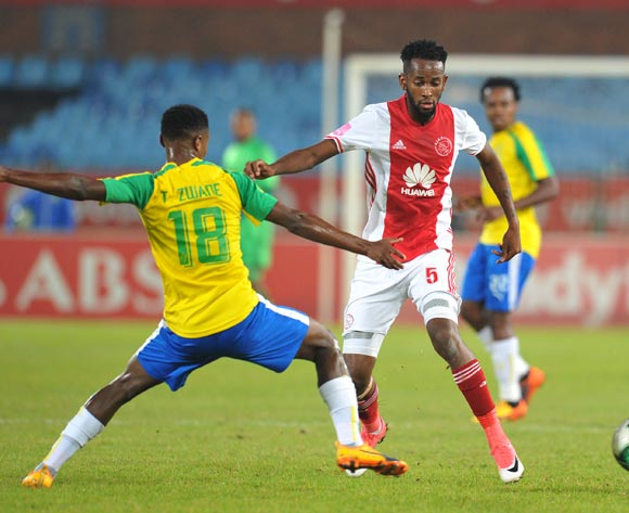 Mosa Lebusa of Ajax Cape Town tackled by Themba Zwane of Mamelodi Sundowns during the Absa Premiership 2016/17 match between Mamelodi Sundowns and Ajax Cape Town at Loftus Versfeld Stadium in Pretoria, South Africa on 25 April 2017 ©Muzi Ntombela/BackpagePix