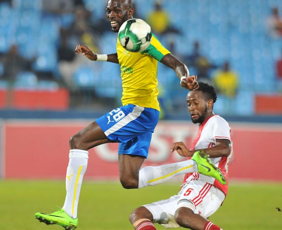 Anthony Laffor of Mamelodi Sundowns tackled by Mosa Lebusa of Ajax Cape Town during the Absa Premiership 2016/17 match between Mamelodi Sundowns and Ajax Cape Town at Loftus Versfeld Stadium in Pretoria, South Africa on 25 April 2017 ©Muzi Ntombela/BackpagePix