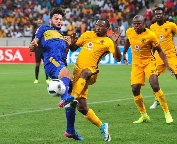 Roland Putsche of Cape Town City and Bernard Parker of Kaizer Chiefs battle for possession during the Absa Premiership 2016/17 game between Cape Town City and Kaizer Chiefs at Cape Town Stadium on 25 April 2017 © Ryan Wilkisky/BackpagePix