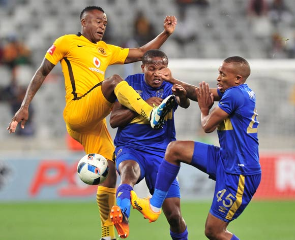 Tsepo Masilela of Kaizer Chiefs collides with Lebogang Manyama (c) and Lehlohonolo Majoro (r) of Cape Town City during the Absa Premiership 2016/17 game between Cape Town City and Kaizer Chiefs at Cape Town Stadium on 25 April 2017 © Ryan Wilkisky/BackpagePix