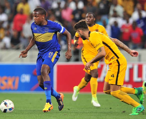 Lebogang Manyama of Cape Town City pulls away from Daniel Cardoso of Kaizer Chiefs during the Absa Premiership 2016/17 game between Cape Town City and Kaizer Chiefs at Cape Town Stadium on 25 April 2017 © Ryan Wilkisky/BackpagePix