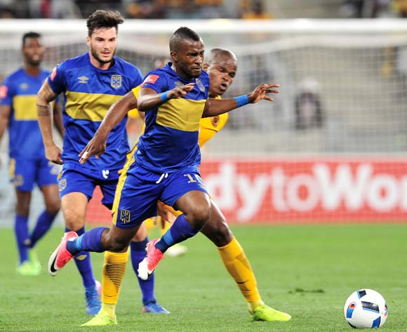 Bongolethu Jayiya of Cape Town City takes on Willard Katsande of Kaizer Chiefs during the Absa Premiership 2016/17 game between Cape Town City and Kaizer Chiefs at Cape Town Stadium on 25 April 2017 © Ryan Wilkisky/BackpagePix