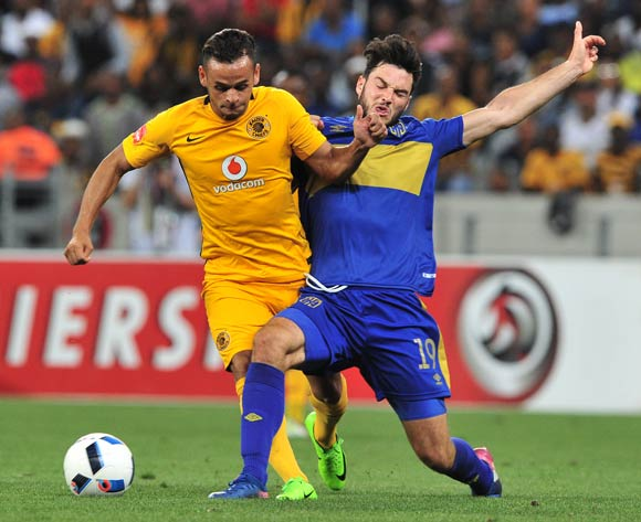 Gustavo Paez of Kaizer Chiefs is tackled by Roland Putsche of Cape Town City during the Absa Premiership 2016/17 game between Cape Town City and Kaizer Chiefs at Cape Town Stadium on 25 April 2017 © Ryan Wilkisky/BackpagePix