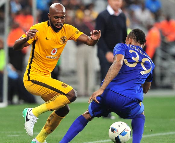 Ramahlwe Mphahlele of Kaizer Chiefs is challenged by Edmilson Dove of Cape Town City during the Absa Premiership 2016/17 game between Cape Town City and Kaizer Chiefs at Cape Town Stadium on 25 April 2017 © Ryan Wilkisky/BackpagePix