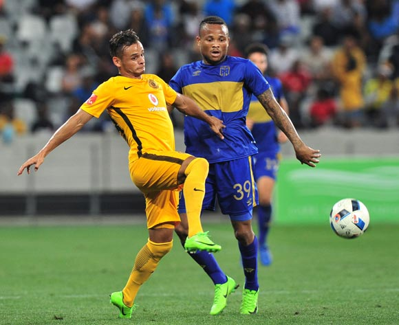 Gustavo Paez of Kaizer Chiefs is challenged by Edmilson Dove of Cape Town City during the Absa Premiership 2016/17 game between Cape Town City and Kaizer Chiefs at Cape Town Stadium on 25 April 2017 © Ryan Wilkisky/BackpagePix