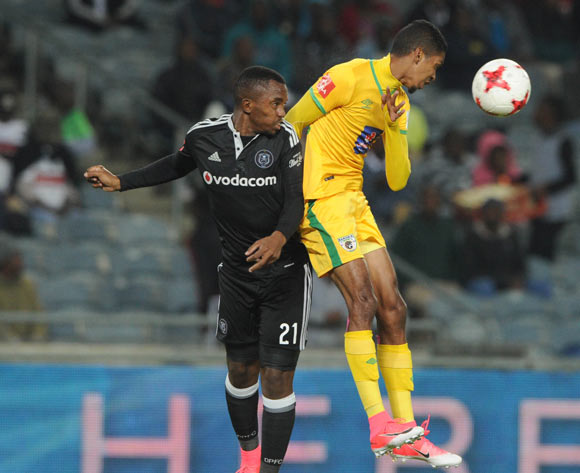 Patrick Phungwayo of Orlando Pirates challenges Jose Garcia of Baroka FC during the Absa Premiership match between Orlando Pirates and Baroka FC  on 26 April 2017 at Orlando Stadium ©Sydney Mahlangu /BackpagePix