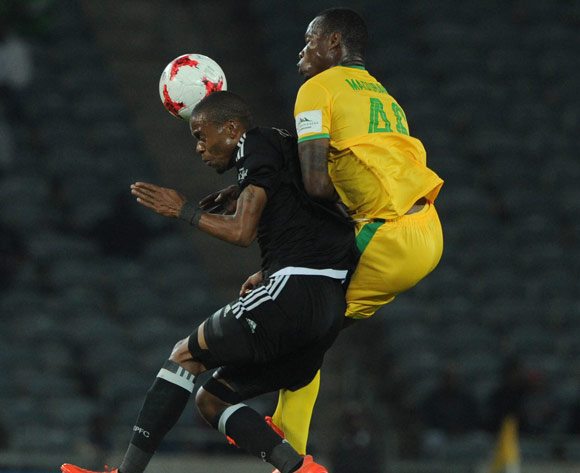 Gladwin Shitolo of Orlando Pirates is challenged by Letladi Madubanya of Baroka FC during the Absa Premiership match between Orlando Pirates and Baroka FC  on 26 April 2017 at Orlando Stadium ©Sydney Mahlangu /BackpagePix