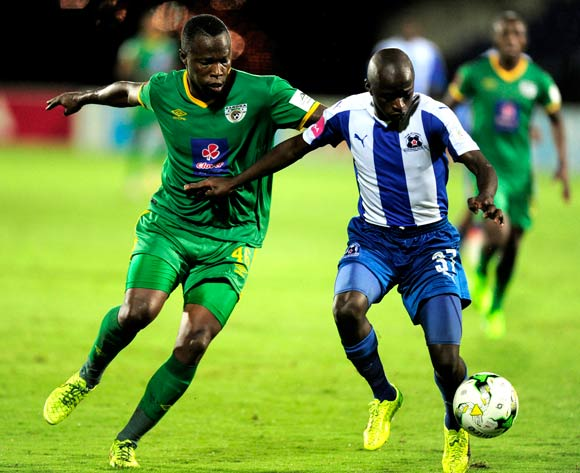 Letladi Madubanya of Baroka FC and Siphesihle Ndlovu of Maritzburg United both try to get to the ball first during the Absa Premiership 2016/17 game between Maritzburg United and Baroka FC at Harry Gwala Stadium in Pietermaritzburg, KwaZulu-Natal on 14 April 2017 © Gerhard Duraan/BackpagePix
