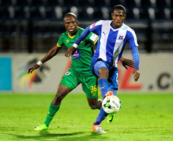 Mohau Mokate of Maritzburg United keeps the ball away from Mxolisi Kunene of Baroka FC during the Absa Premiership 2016/17 game between Maritzburg United and Baroka FC at Harry Gwala Stadium in Pietermaritzburg, KwaZulu-Natal on 14 April 2017 © Gerhard Duraan/BackpagePix